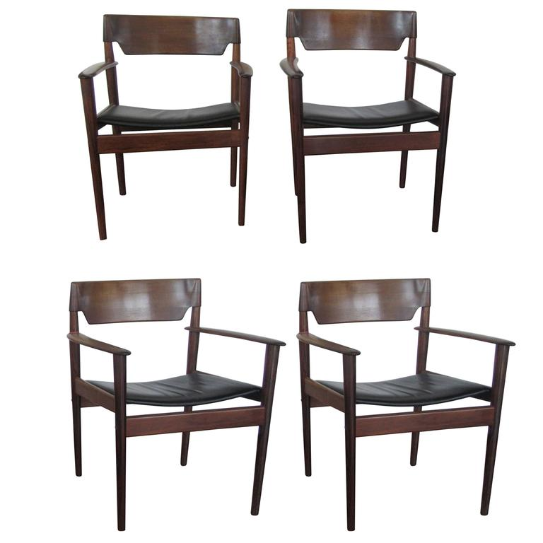 Opulent Rosewood Armchairs by Grete Jalk with Leather