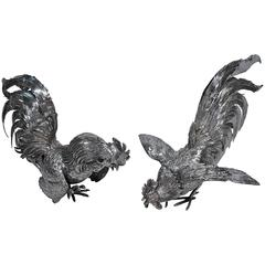 Pair of Antique German Silver Roosters with Flamboyant Plumage