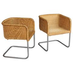 Pair of Wicker and Chrome Chairs for Harvey Probber