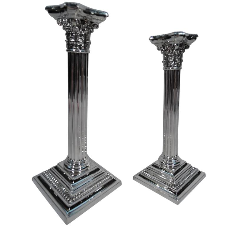 Pair of Gorham Neoclassical Sterling Silver Candlesticks