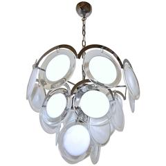 Murano Vistosi Clear and White Disk Chandelier