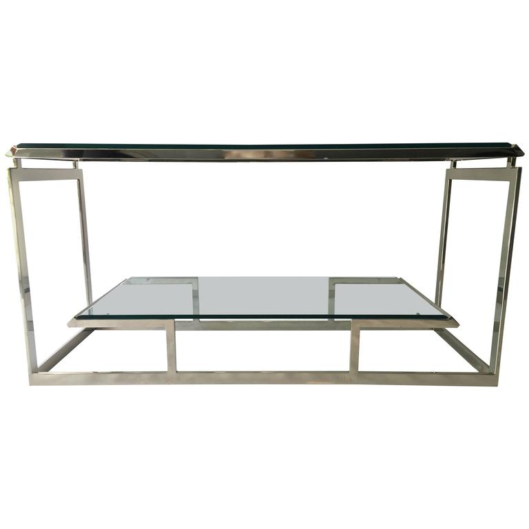 Mid Century Modern Chrome And Glass Console Table, Manner Of Milo Baughman  For Sale