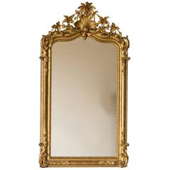 French Régence Antique Gold Leaf Mirror, circa 1880