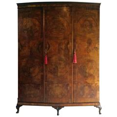 Antique Flame Fronted Walnut Wardrobe Two-Door Large