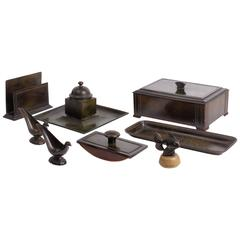 Eight Items in Disko Metal for on a Desk by Just Andersen, 1930s, Denmark