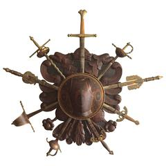 Fine Spanish Coat of Arms Sword Wall Stand Carved and Painted, 1930s