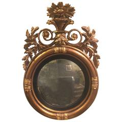 Austrian 19th Century Carved Giltwood Bullseye Mirror