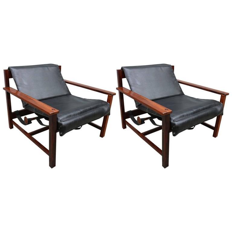 Pair of 1960s Brazilian Jacaranda Reclining Lounge Chairs For Sale