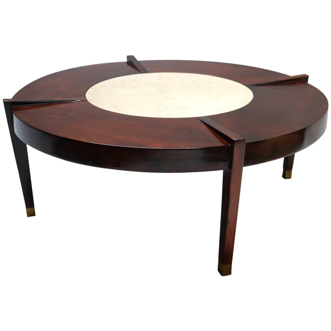 Brazilian Jacaranda And Marble 1960s Round Coffee Table For Sale At 1stdibs