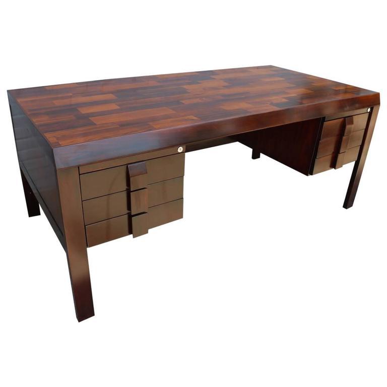 Parquet 1960s Brazilian Jacaranda Desk by Jean Gillon For Sale