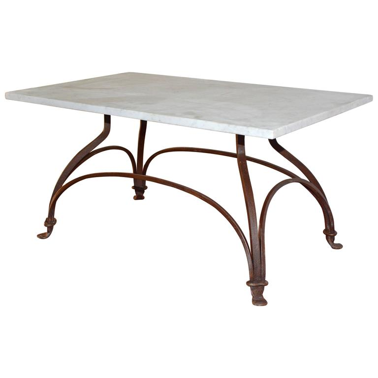 Marble and wrought iron coffee table at 1stdibs for Marble and wrought iron coffee table