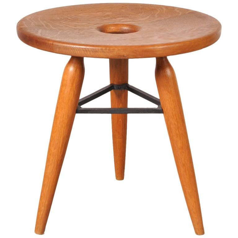 Unique French Tripod Stool, circa 1950