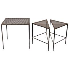 Set of Three Side, Nesting Tables by Mathieu Matégot, France, circa 1950