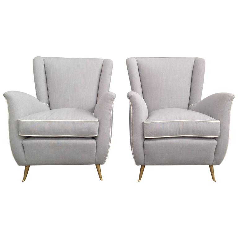 Charming Pair of Armchairs Gio Ponti Style For Sale