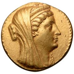Unique Ancient Gold Coin of Queen Arsinoe II, 253 BC