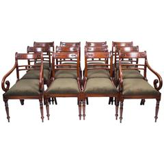 Set of 12 English Regency Style Tulip Back Dining Chairs