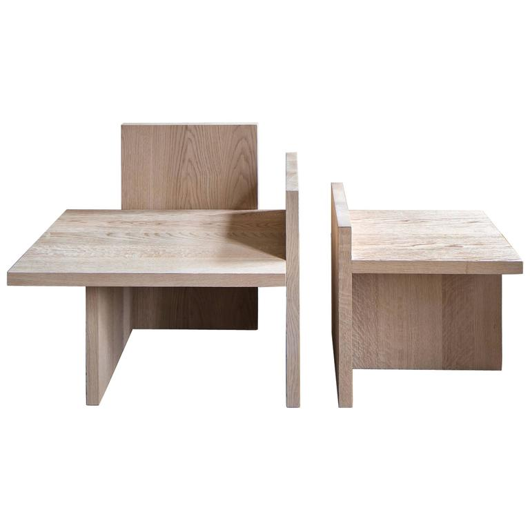 Armchair and table in brushed solid and natural oak from Michaël Verheyden. Sold as a pair. Dimensions armchair: W 80 cm x H 80 cm x D 60 cm. Dimensions table: W 50 cm x H 40 cm x D 50 cm. Please note: This item is located in our New York City