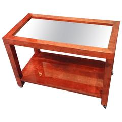 Tura Red Parchment Serving Cart