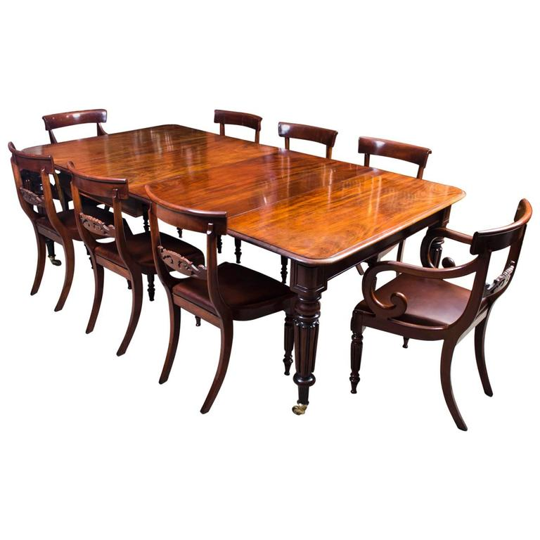 Antique Regency Gillows Dining Table Eight Regency Chairs
