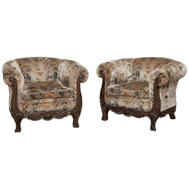 Pair of French Walnut Hand-Carved Louis XV Armchairs or Bergerès