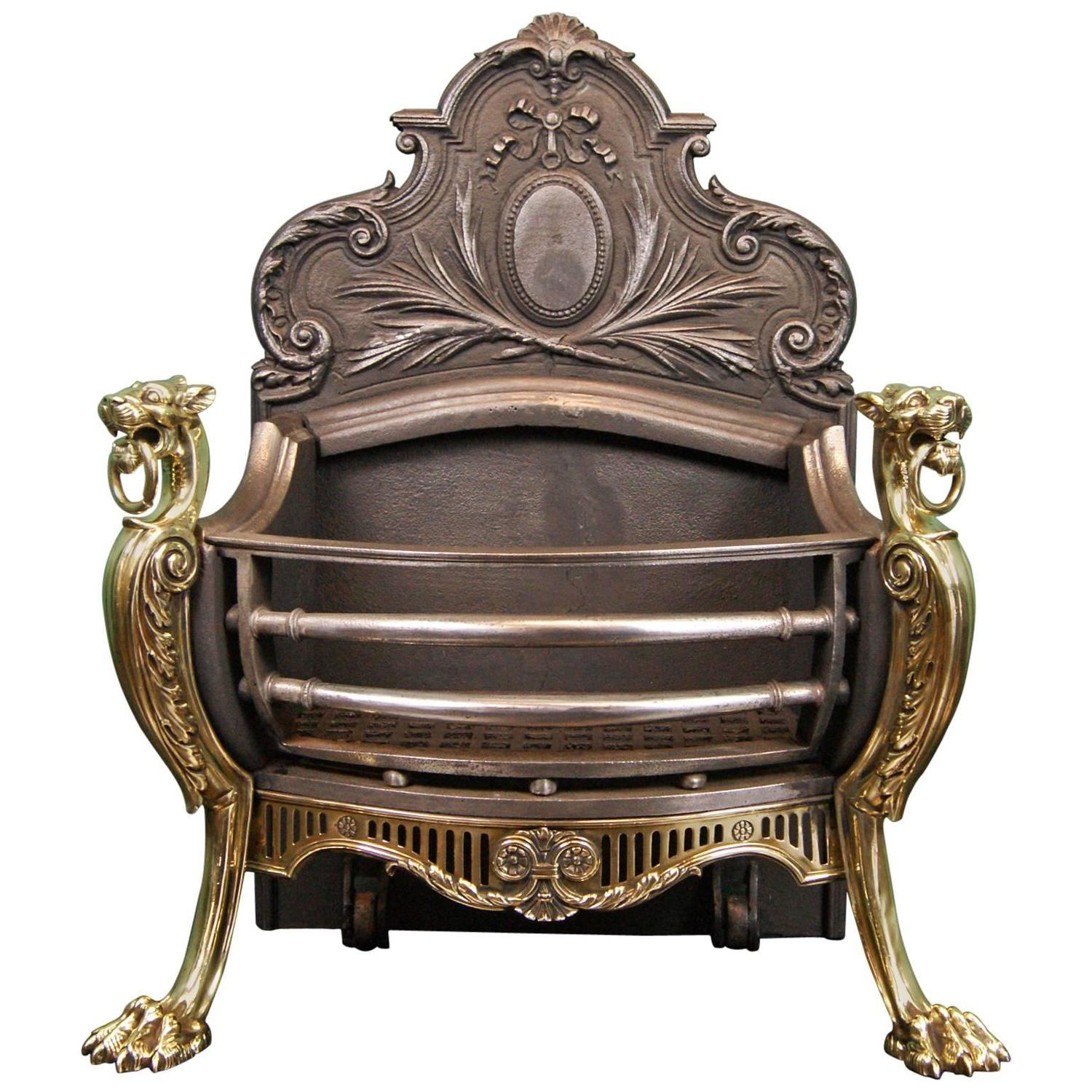 19th century brass and cast iron fireplace grate for
