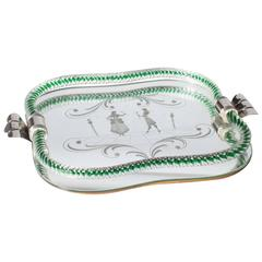 Murano Mirrored Tray with Sterling Silver Handles, circa 1920