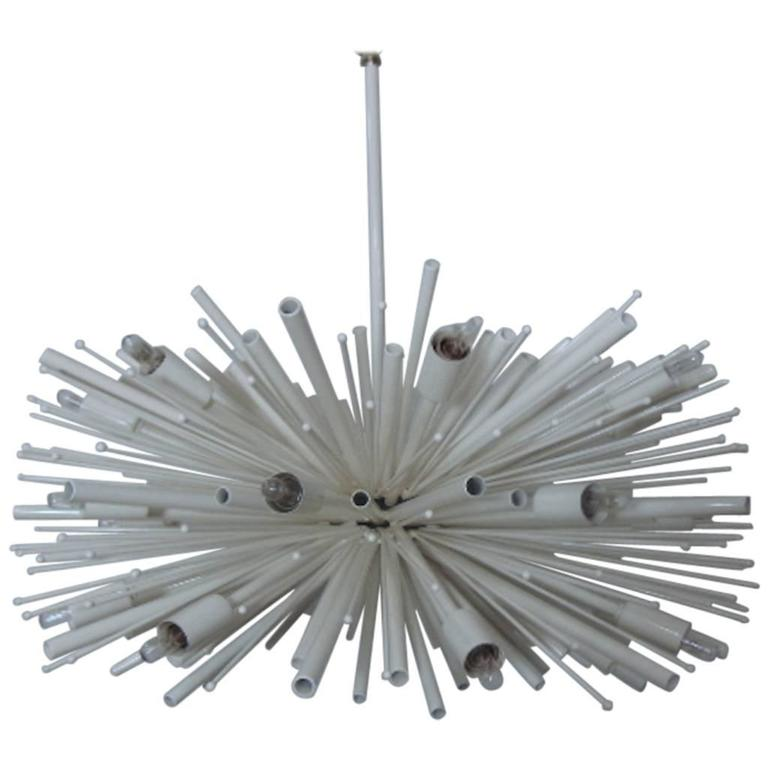 """24"""" White Supernova Chandelier By Lou Blass with 24 lights"""