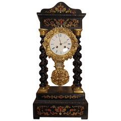 Napoleon III Clock with Inlayed Wood and Bronze Mounts
