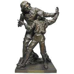 "19th Century Bronze Figural Group ""The Fencing Lesson"" by Adrien-Etienne Gaudez"