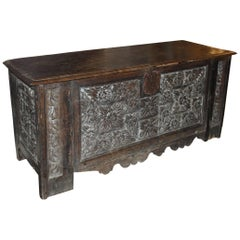 17th Century French Oak Carved Coffer from the Bullitt Estate