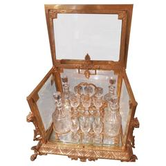 19th Century Important French Cut Crystal and Gilt Bronze Tantalus.
