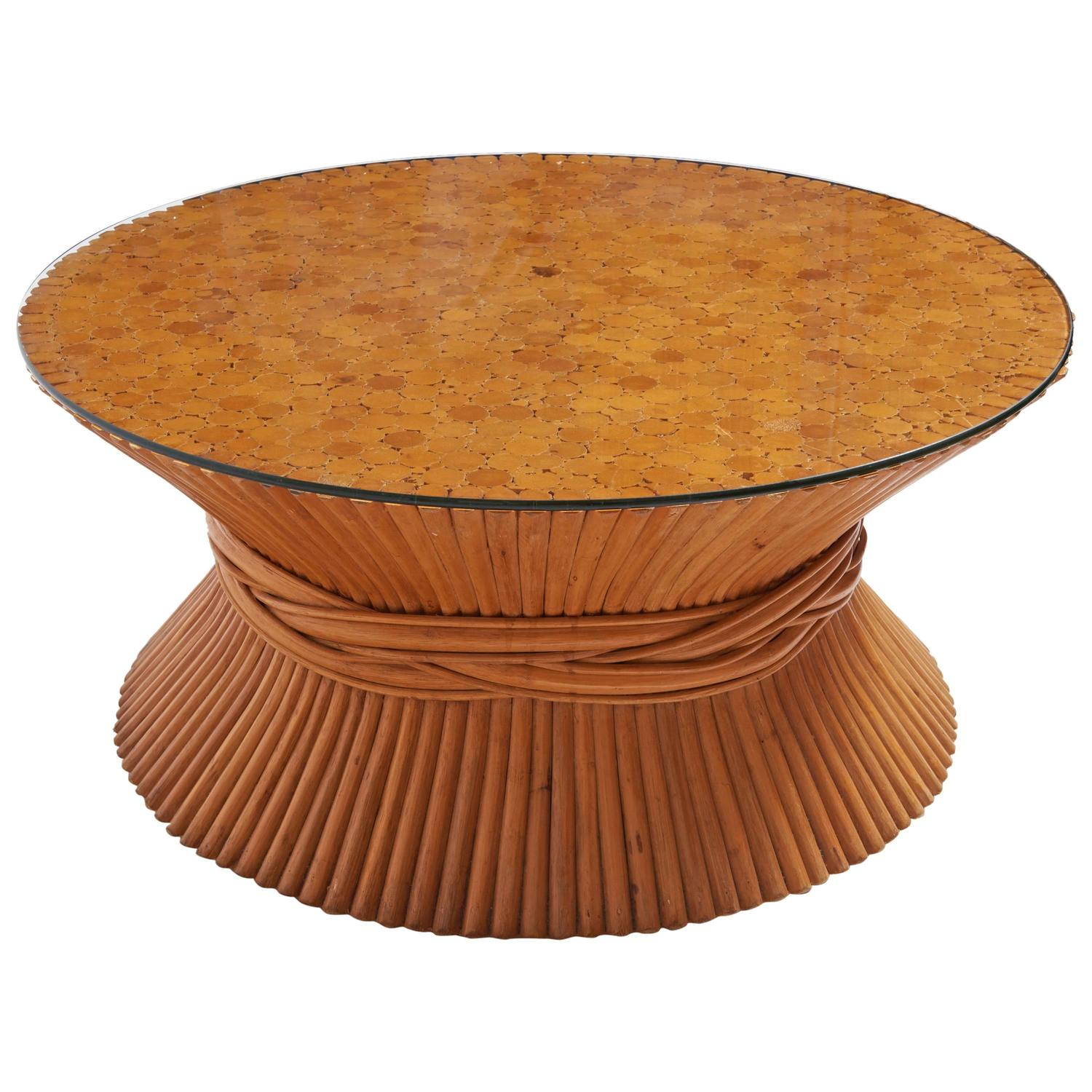 McGuire Wheat Sheaf Bamboo Rattan Coffee Table at 1stdibs