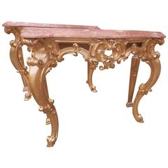 Pair 19th Century French Louis XV Water Gilt Rococo Carved Marble-top consoles