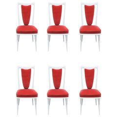 Set of Six French Mid-Century Modern White Lacquered Dining Chairs, circa 1960s