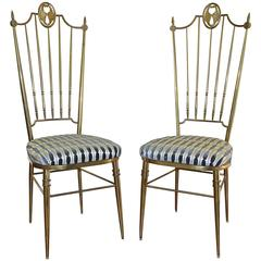 Pair of Tall Back Brass Italian Chiavari Side Chairs