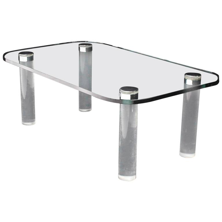 Lovely Rectangular Glass Top Lucite Cilinder Legs Coffee Table 1