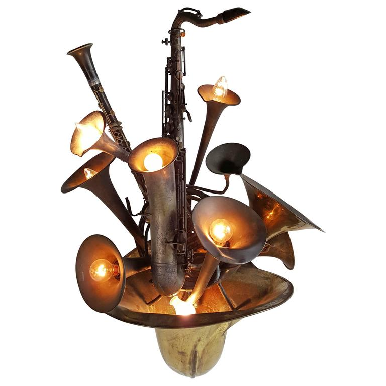 Large Wind Instrument Brass Wall Sconce French Horn ...