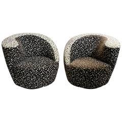Pair of Vladimir Kagan Nautilus Corkscrew Swivel Lounge Chairs by Directional