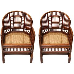 Pair of English Chippendale Style Chairs with Caned Seat
