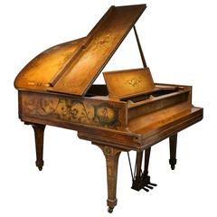 Superb Baby Grand Piano with Painted Scenes by Sohmer, NY