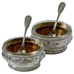Puiforcat French Sterling Silver Gold 18-karat Salt Cellars Pair with Spoons