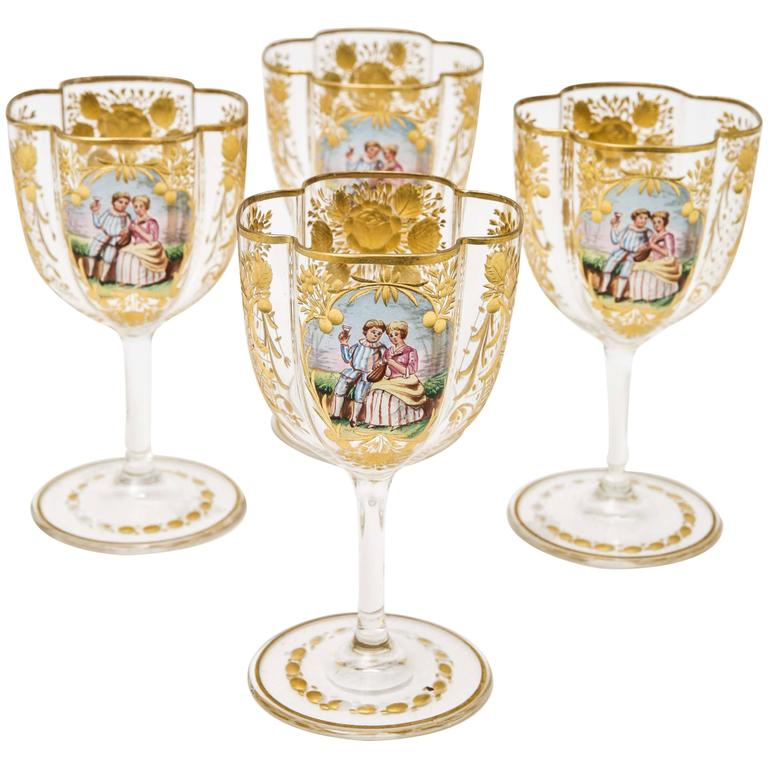 Four Antique Moser Wine Glasses, Cut and Hand Decorated with Quatrefoil  Shape