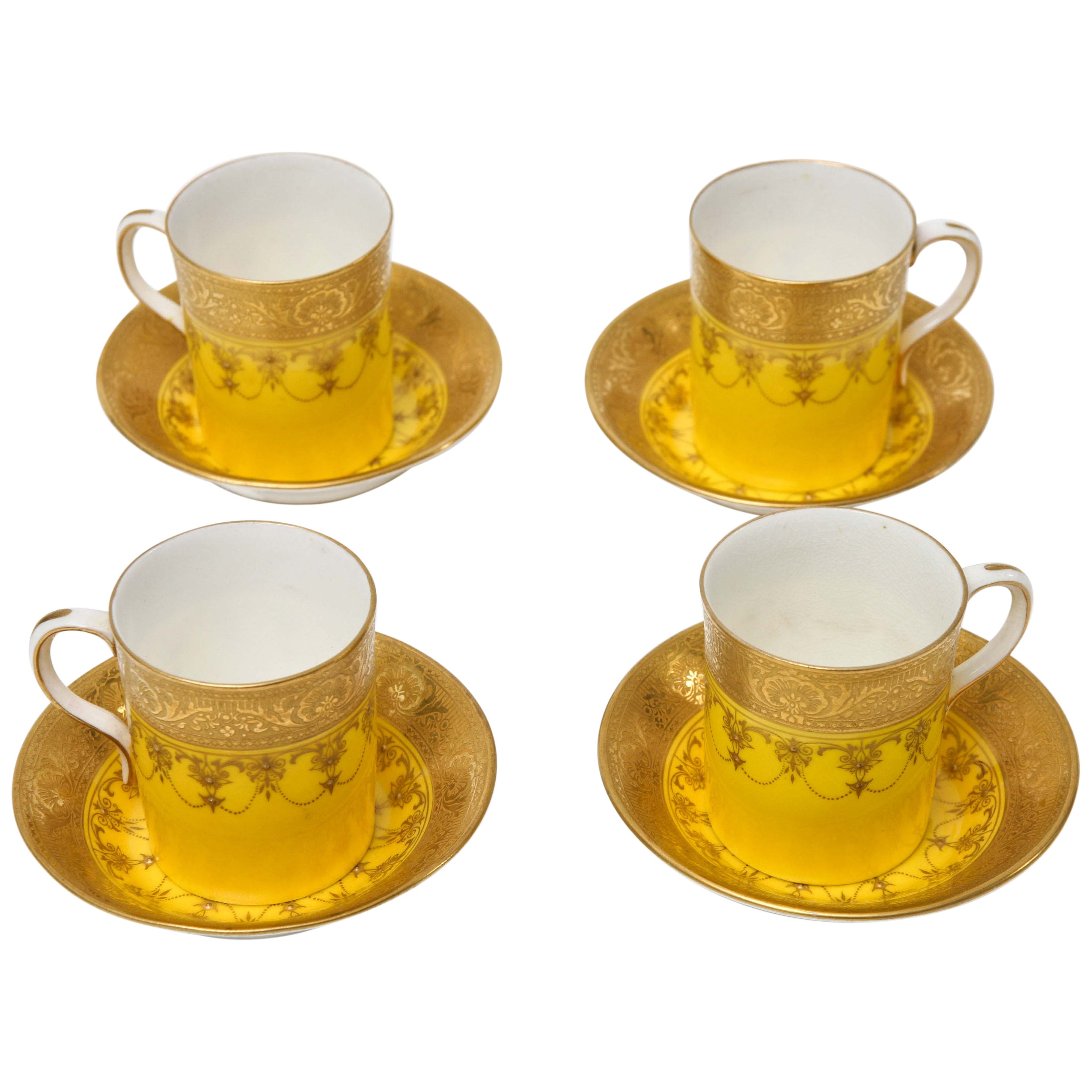 Set of 4 Antique Royal Worcester England Custom Demi Tasse Sets, 8 Pieces Total