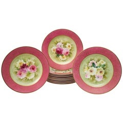 12 Pretty Pink Antique Floral Dessert Plates, Hand-Painted, Artist Signed