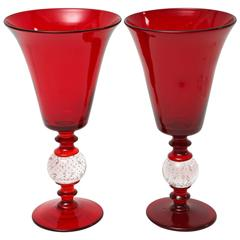 Pair of Antique Red Glass Vases with Controlled Bubble Bases, Pairpoint