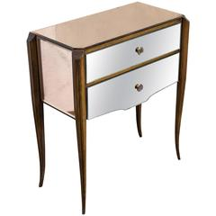 French, 1940s Mirrored Nightstand
