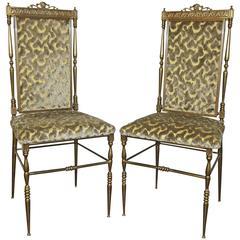 Pair of Chiavari Italian Neoclassic Brass Side Chairs