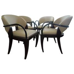 Rare Set of Four Brueton Willow Chairs Designed by Mitchell Pickard