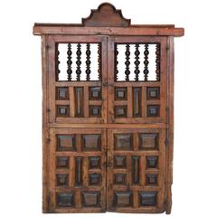 18th Century Wooden Window Shutters with Panels and Turned Wood