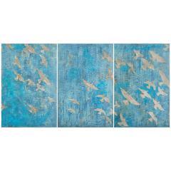 """Birds of a Feather IV"" Original Mixed-Media Triptych by Jo Hyman"